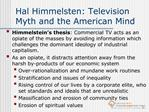 Hal Himmelsten: Television Myth and the American Mind
