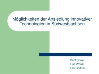 Möglichkeiten der Ansiedlung innovativer Technologien in Südwestsachsen