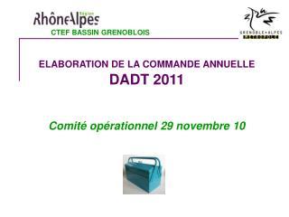 ELABORATION DE LA COMMANDE ANNUELLE DADT 2011 Comité opérationnel 29 novembre 10