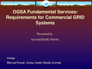OGSA Fundamental Services: Requirements for Commercial GRID Systems