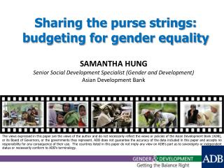Sharing the purse strings: budgeting for gender equality
