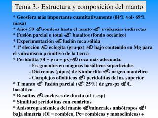 Tema 3.- Estructura y composición del manto