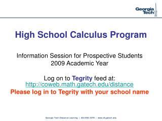 High School Calculus Program