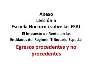 Anexo  Lección 5  Escuela Nocturna sobre las ESAL