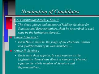 Nomination of Candidates