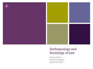 Anthropology and Sociology of Law