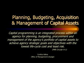 Planning, Budgeting, Acquisition & Management of Capital Assets