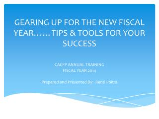 GEARING UP FOR THE NEW FISCAL YEAR……TIPS & TOOLS FOR YOUR SUCCESS