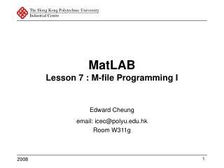MatLAB Lesson 7 : M-file Programming I