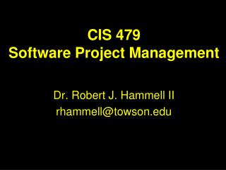 CIS 479 Software Project Management