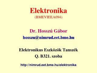 Elektronika (BMEVIEEA094)