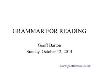 GRAMMAR FOR READING