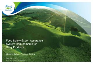 Food Safety Export Assurance System Requirements  for Dairy Products