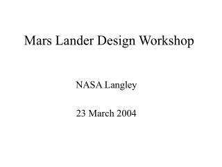 Mars Lander Design Workshop