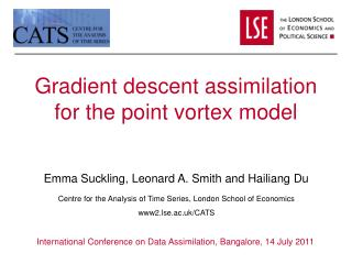 Gradient descent assimilation for the point vortex model
