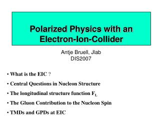 Polarized Physics with an  Electron-Ion-Collider