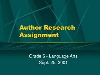 Author Research Assignment