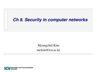 Ch 8. Security in computer networks