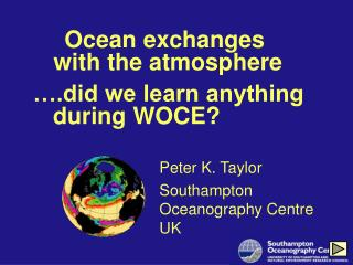 Ocean exchanges  with the atmosphere