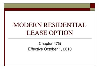 MODERN RESIDENTIAL LEASE OPTION