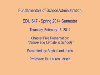 Fundamentals of School Administration