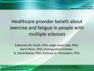 Healthcare provider beliefs about exercise and fatigue in people with multiple sclerosis