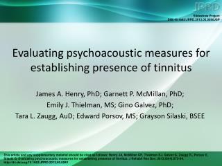 Evaluating psychoacoustic measures for establishing presence of tinnitus