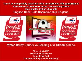 Derby County vs Reading LIVE STREAM ONLINE TV
