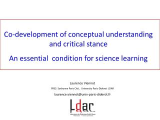 Co-development of conceptual understanding and critical stance