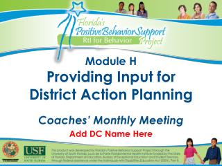 Module H Providing Input for District Action Planning Coaches' Monthly Meeting