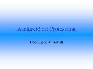 Avaluació del Professorat