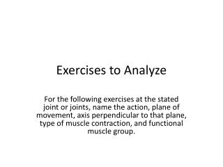 Exercises to Analyze