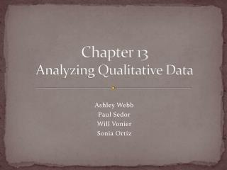 Chapter 13 Analyzing Qualitative Data