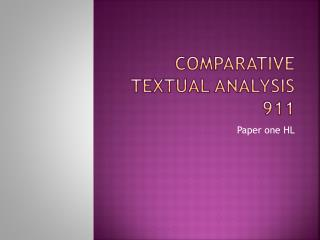 Comparative Textual Analysis 911