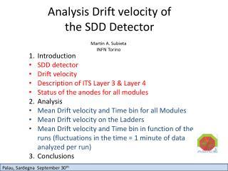 Analysis Drift velocity of the SDD Detector