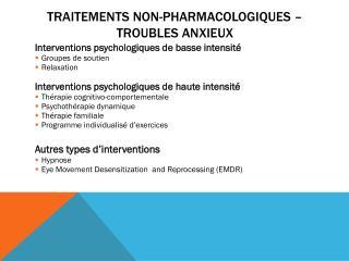 Traitements non-Pharmacologiques – Troubles anxieux