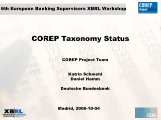 COREP Taxonomy Status