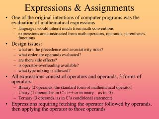 Expressions & Assignments