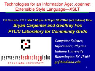 Technologies for an Information Age: . opennet Extensible Style Language�XSLT
