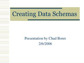 Creating Data Schemas
