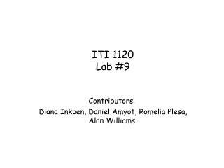 ITI 1120 Lab #9