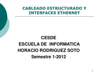 CABLEADO ESTRUCTURADO Y  INTERFACES ETHERNET