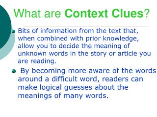 What are  Context Clues ?