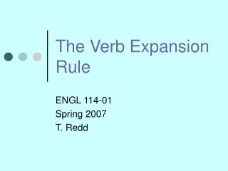 The Verb Expansion Rule