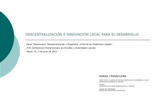 DESCENTRALIZACI�N E INNOVACI�N LOCAL PARA EL DESARROLLO