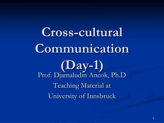 Cross-cultural Communication (Day-1)