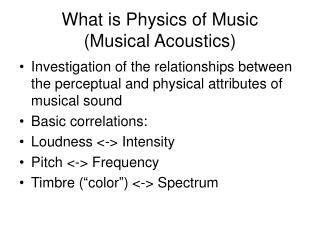 What is Physics of Music (Musical Acoustics)