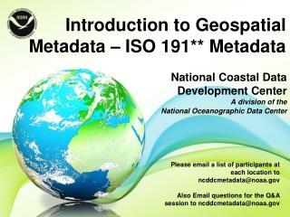 National Coastal Data Development Center   A division of the  National Oceanographic Data Center