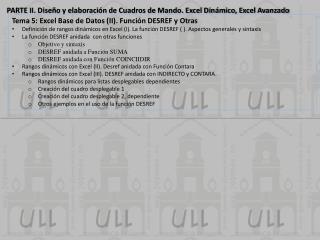 PARTE II. Diseño y elaboración de Cuadros de Mando. Excel Dinámico, Excel Avanzado