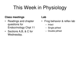 This Week in Physiology